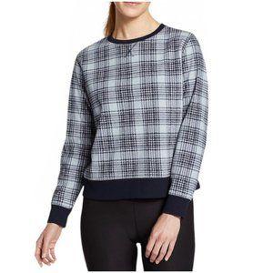 NWT Eddie Bauer Quest Fleece Plaid Print Long Sleeve Sweatshirt In Blue Size XS